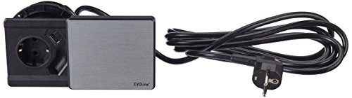 Schulte 1592 7000 3300 EVOline Square 80 Schuko mit USB-Charger Edelstahl