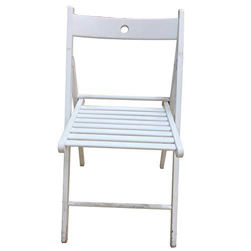 Chaises Pliantes Chaise Fauteuil Siège Mode De Ménage Portable Pliable Chaise De Loisirs Simple en Bois Massif avec Dossier De Loisir Tingting (Couleur : Blanc, Taille : 44 * 51 * 77cm)