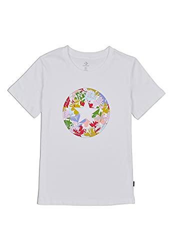 Converse Camiseta para mujer, diseño de flores, color blanco Blanco S
