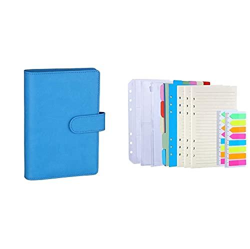 Antner A6 PU Leather Notebook Binder (Sky Blue) Bundle   3 Pack A6 Refill Paper, 2 Pack 160pcs Neon Page Markers, 10pcs Binder Dividers, 3pcs Binder Pockets
