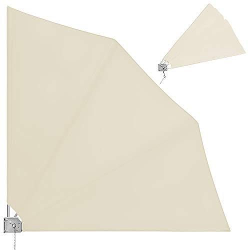 Deuba Balkonfächer klappbar mit Wandhalterung 140x140cm in beige witterungsbeständig inkl. Montagematerial Sichtschutz Balkon Windschutz Balkonsichtschutz Seitenmarkise