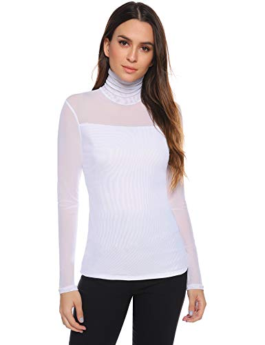 Aibrou Camisetas Transparentes para Mujer Camisa de Malla Ver a Través de Cuello Alto Manga Larga Sexy Tops Transparente Hombros para Fiesta