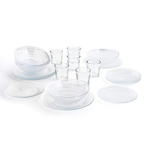 Luminarc Vajilla Completa Moderna para 6 Personas 18 Piezas + Set de 6 Vasos de Vidrio 26cl, Opal, Único, Estándar
