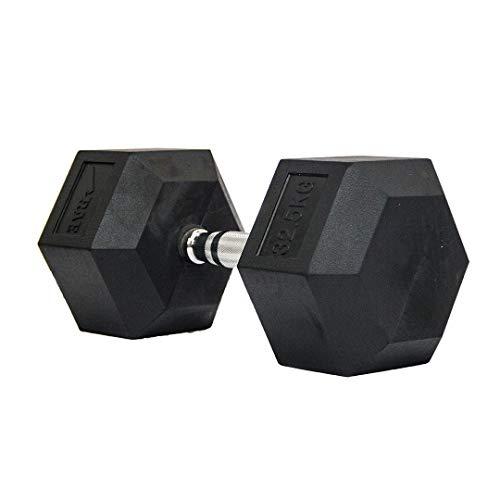 Dumbbell - Halter Sextavado Emborrachado com Pegada Cromada de 40 kg - Rae Fitness