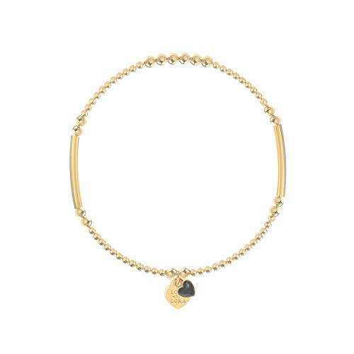 Lora di Lora Pulsera Candy-Obsidian Black. Una cuerda individual Vermeil Oro para mujer 17. cm