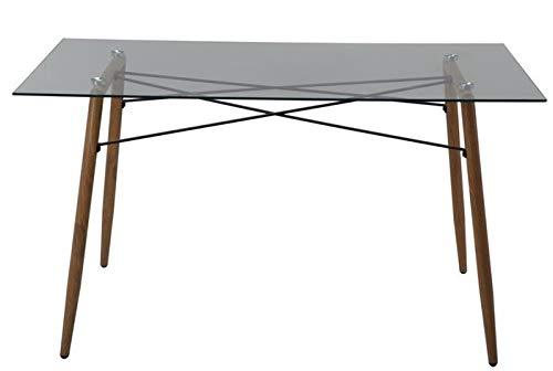 Grupo SDM Mesa de Comedor Metal, Cristal Transparente, 140 x 80 cms
