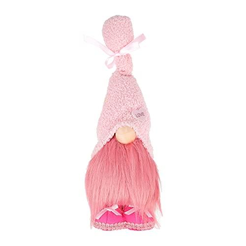 TOYANDONA Boda de Peluche de Gnomo de San Valentín de Color Rosa de Gnomo Sueco de Tomte Gnomos Escandinavo Santa Elfo de Felpa Muñeca de Mesa Decoraciones Ornamentos Rosa
