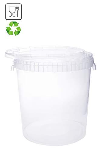 Eimer mit Deckel 30L Transparent Kunststoffeimer Deckel Henkel Lebensmittelecht Hochwertiger (1x 30 Liter)