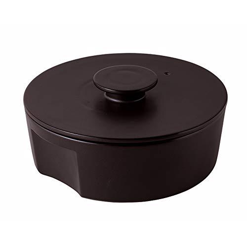 Japanischer Donabe-Tontopf Seto-Mono, 2750 ml, modernes Design, schwarz, handgefertigt in Japan