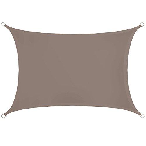 AMANKA UPF50+ UV Sonnensegel - 2x3 Polyester Rechteck Wasserabweisend Wetterfest Garten Balkon Braun