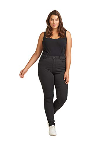 Zizzi Damen Amy Jeans Slim Fit Jeanshose Stretch Hose,Schwarz,50 / 82 cm