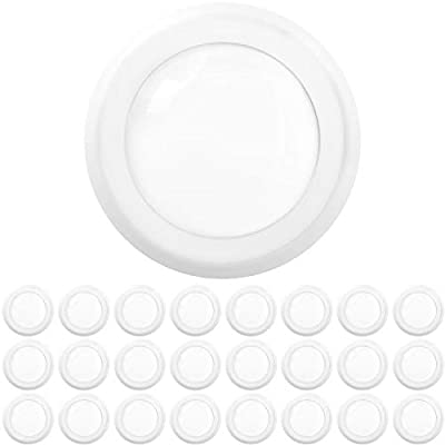 "Sunco Lighting 24 Pack 5 Inch / 6 Inch Flush Mount Disk LED Downlight, 15W=100W, 5000K Daylight, 1050LM, Dimmable, Hardwire 4/6"" Junction Box, Recessed Retrofit Ceiling Fixture"