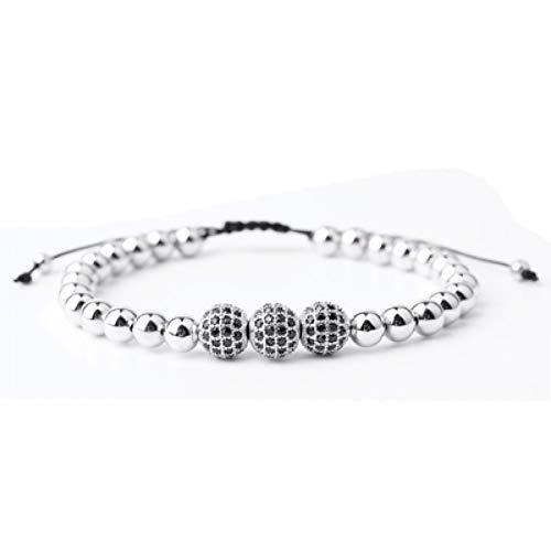 DMUEZW Joyería de Moda para Hombre Pulsera de Abalorios Plateados y 10 mm Micro Pave Negro CZ Beads Trenzado Macrame Pulsera