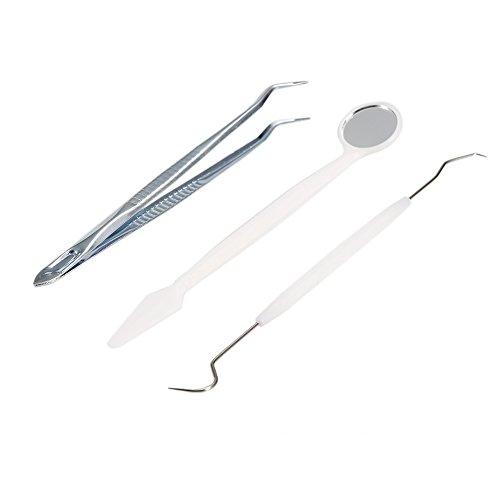 3-teiliges Zahnreinigungs-Set für Zahnzwischenräume - Dental-Set - Sonde Spiegel Pinzette - Zahnstein-Entfernen - Zahnpflege - Edelstahl