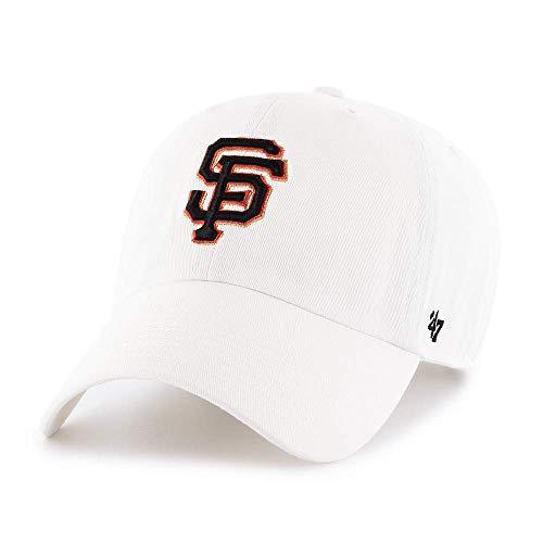 '47 Brand San Francisco SF Giants Clean Up Adjustable Hat - MLB Baseball Cap - White/Black/Orange/Gold - Unisex, Adult