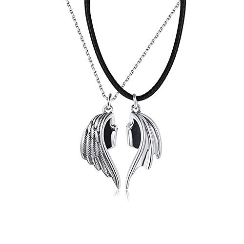 Teufel Engel Schlüsselbein Kette Angel and Demon Wings Necklace Kreative Paar Halskette His and Her Matching Set Necklace Half Heart Pendant Magnetischer Anhänger Schmuck Geburtstag Gedenkgeschenk