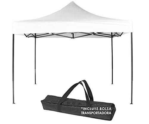 Gran Shopping Carpa Toldo 3x3 Impermeable + Funda Transportadora Reforzado Plegable Jardin - Blanco