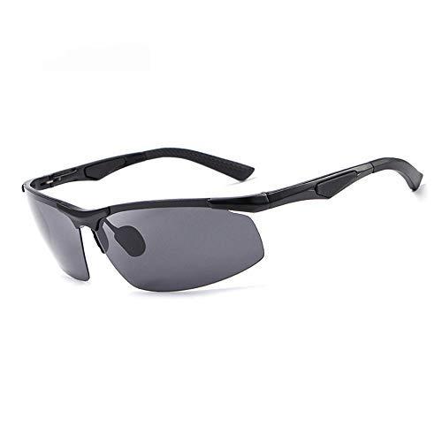 ZLININ Y-Longhair Gafas de Sol Gafas de Sol polarizadas de los Hombres sin Marco Completo de magnesio y Aluminio conducción Deportiva Gafas Gafas de Moda (Color: Negro, Tamaño: Libre) (Color : Black)