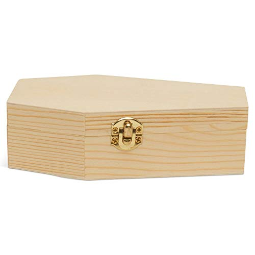 Small Halloween Coffin Box, 6 Inch, Pack of 12, Unfinished Wood, Use As Halloween Décor and Halloween Crafts, Pet Casket, Coffin Ring Box,