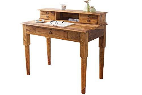 DuNord Design Sheesham-Holz Massiv Schreibtisch mit 1 Staufach 5 Schubladen Palisander Computertisch Bürotisch Arbeitstisch PC Tisch 90x50x90cm