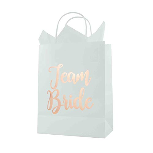FOONEA Bridesmaid Gift Bag with Tissue Paper, 15 Pack Team Bride White Paper Bag for Bachelorette Party Favors, Bridal Party Bags, Rose Gold Gift Bags, Large Favor Bags, 10.63 x 8.27 x 4.33 inch