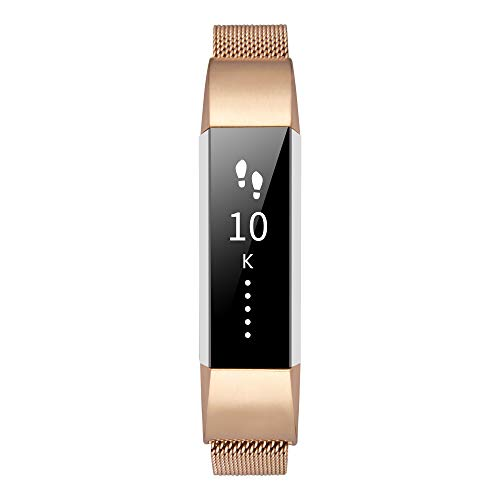 TOMALL Bands Compatible for Fitbit Alta HR, Stainless Steel Replacement Wristbands for Fitbit Alta HR Fitness Tracker (Rose Gold)
