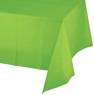 Mountclear 12-Pack Disposable Plastic Tablecloths - 54 x 108 Inch Size Table Cover (Lime Green)