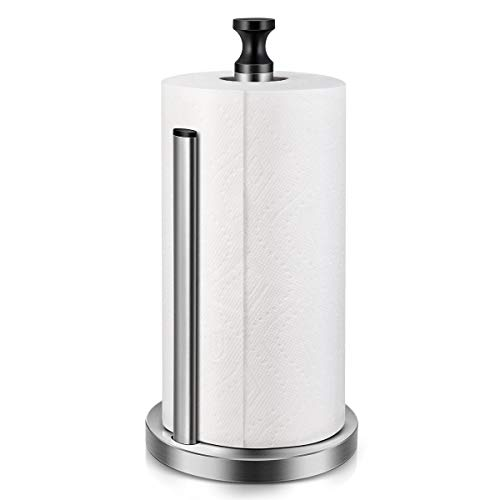 Homemaxs Portarrollos de cocina de pie, práctico soporte de papel de cocina, sin agujeros, base estable y brazo con muelle de acero inoxidable