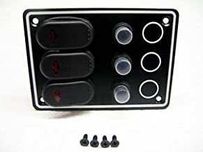 Marine 10061-BK 12V 6 Gang Black Waterproof Switch Panel With Circuit Breakers