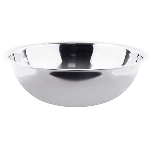 30 Quart Stainless Steel Mixing Bowl Extra Large, Polished Mirror Finish Nesting Flat Base Bowl, Mixing Bowls/Prep Bowls by Tezzorio