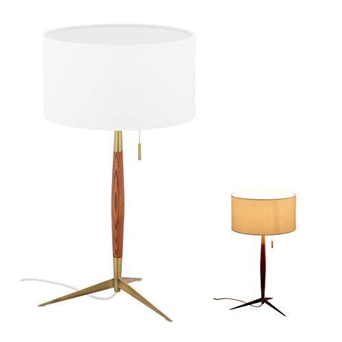 Relaxdays Tischlampe, Stoffschirm & Zugschalter, E27, Tischleuchte Wohn-& Schlafzimmer, Holz, Metall, weiß/braun/messing 10033893