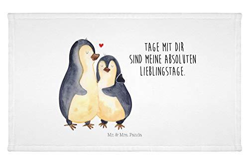 Mr. & Mrs. Panda Gästehandtücher, Handtücher, Gäste Handtuch Pinguin umarmend mit Spruch - Farbe Weiß