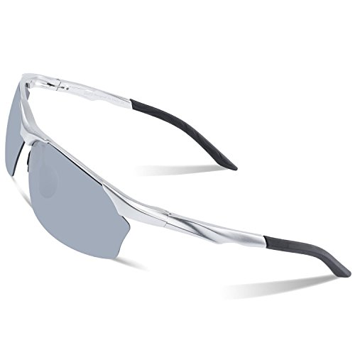 DUCO Polarisierte Sonnenbrille Herren für Radfahren Angeln Golf Unzerbrechlich 8513S Silber Rahmen Silber verspiegelt
