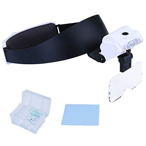 ENJOHOS Lupenbrille Kopflupe,Kopfbandlupe mit Licht,Verstellbarem LED Licht Lupe für Juweliere Uhrmacher,Juweliere und Reparatur 5 Abnehmbare Linsen 1.0X bis 3.5X