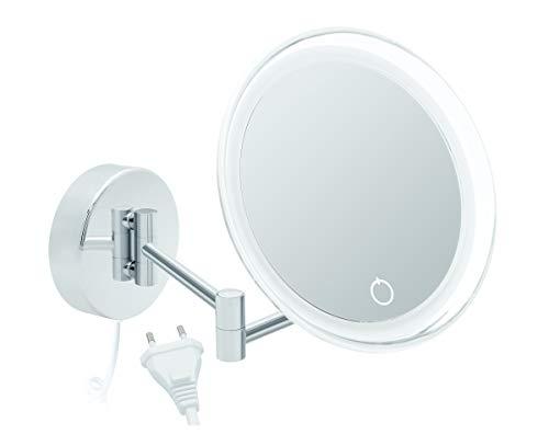 Libaro Siena - Espejo de aumento con luz LED (7 aumentos, montaje en pared, función de atenuación, apagado automático (con cable blanco)