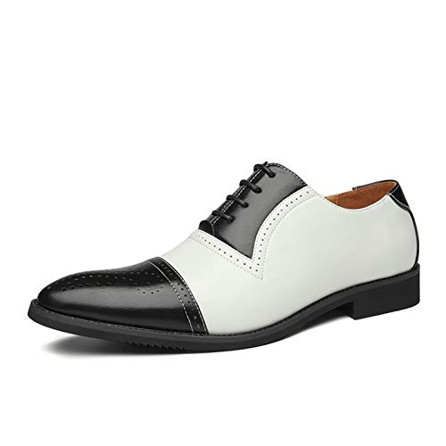 Zapatos Oxford para Hombre Patchwork Brogue Zapatos de Cuero con Punta Puntiaguda...