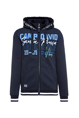 Camp David Herren Sweatjacke mit Kapuze und Logo-Artworks