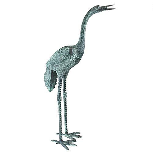Design Toscano SU2205 Head High Crane Bird Piped Statue Fountain Pond Water Feature, Large, 38 Inch, Green Verdigris