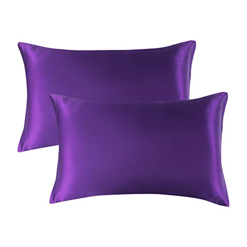 Bedsure Satin Pillowcase for Hair and Skin Silk Pillowcase 2 Pack , Standard Size (Plum Purple, 20x26 inches) Pillow Cases Set of 2 - Slip Cooling Satin Pillow Covers with Envelope Closure