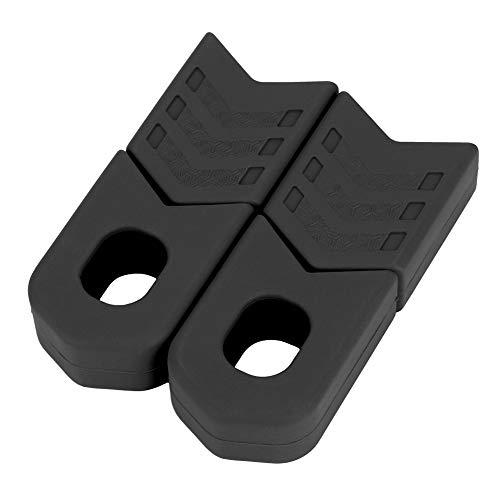 Alomejor Bici Manovella di Protezioni, Coppia Protezioni Pedivelle in Silicone per Bici(Nero)