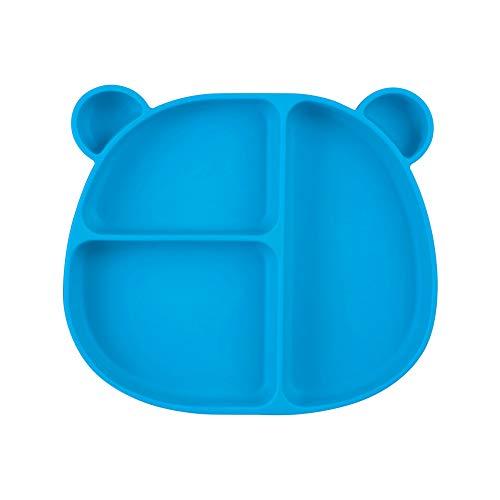 Homvik Plato de Silicona con Ventosa para Bebé Mantel Individual para Bebé Niños Plato Antideslizante Plato de Alimentación para BLW (Azul)