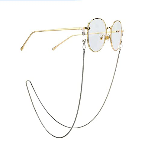OMKMNOE Gafas Snake Cadena Cuerda De Cordón, Sin Resbalón Soporte De Espectáculos Gafas Collar De Cadena Oro Y Plata Gafas De Sol Gafas Cadena Cadena Vidrios Gafas CADRADORES CADRADORES,Plata