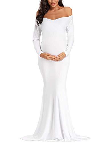JENJON Femmes Robe De Maternité Cocktail Elégante à Manches Longues Col en V Shooting Photo Grossesse Maxi Robe Blanc XL