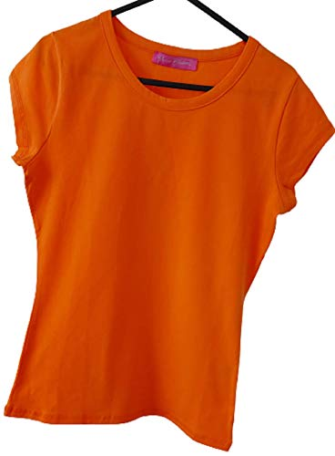 Mesdames lycra à manches courtes en coton uni T-shirt orange – petite