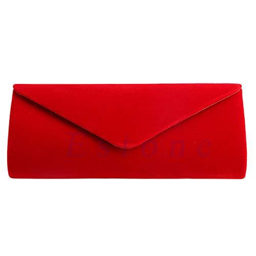 LinZX Elegante Damen Velvet Clutch Abendtasche Hochzeit Umschlag-Beutel,Red