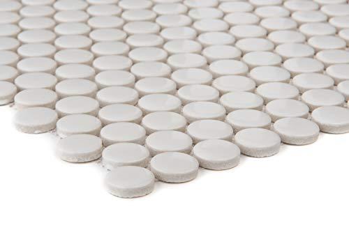 Mosaico de azulejos de cerámica, color blanco, botón, pared, suelo, ducha, baño, cocina, 10 alfombrillas, ES-41190_f