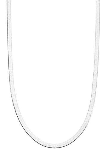 Miabella 925 Sterling Silver Italian Solid 3.5mm Flexible Flat Herringbone Chain Necklace for Women Men 16, 18, 20, 22, 24, 26, 30 Inch Made in Italy (16)