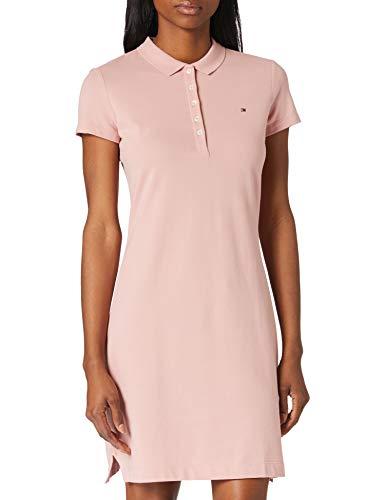 Tommy Hilfiger Slim Short Polo Dress SS Vestido Informal, Pink, S para Mujer