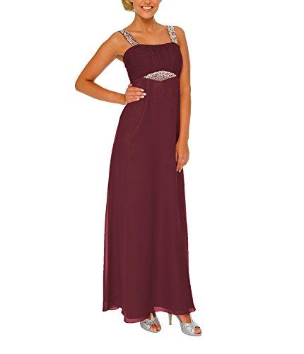 Astrapahl Damen Cocktail Kleid mit Pailletten, Maxi, Einfarbig, Gr. 38, Rot (Weinrot)