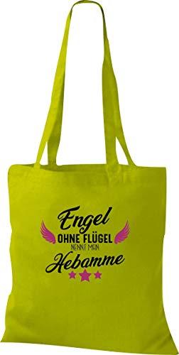 Shirtstown Stoffbeutel, Engel ohne Flügel nennt man Hebamme, Geburt Baby Kind Dankeschön, Spruch, Tasche Beutel, Jute, Shopper, Farbe Kiwi